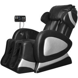 Fotoliu electric masaj, panou control, VidaXL, piele artificiala, negru