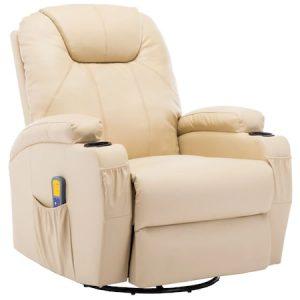 Fotoliu balansoar de masaj electric, vidaXL, Piele artificiala, Crem