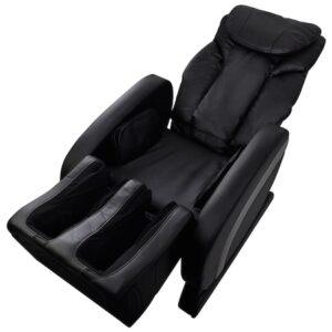 Fotoliu extensibil/electric de masaj, vidaXL, piele artificiala, 75 x 140 x 105 cm, negru