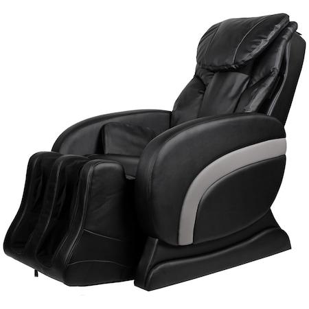 Fotoliu extensibil/electric de masaj, vidaXL, piele artificiala, 75 x 140 x 105 cm, negru review