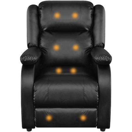 Fotoliu extensibil/electric de masaj, vidaXL, piele artificiala, 77 x 90 x 106,5 cm, negru