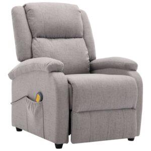 Fotoliu rabatabil de masaj vidaXL, Textil, 71 x 90,5 x 96 cm, Gri